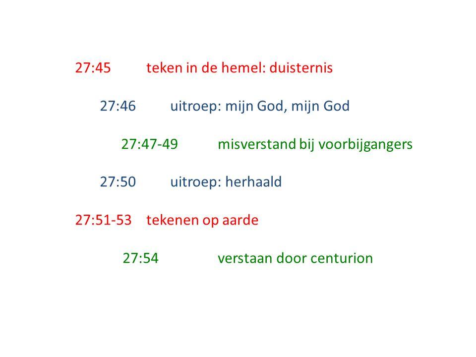 27:45teken in de hemel: duisternis 27:46uitroep: mijn God, mijn God 27:47-49misverstand bij voorbijgangers 27:50uitroep: herhaald 27:51-53tekenen op aarde 27:54verstaan door centurion