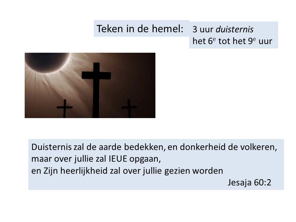 Teken in de hemel: 3 uur duisternis het 6 e tot het 9 e uur Duisternis zal de aarde bedekken, en donkerheid de volkeren, maar over jullie zal IEUE opgaan, en Zijn heerlijkheid zal over jullie gezien worden Jesaja 60:2