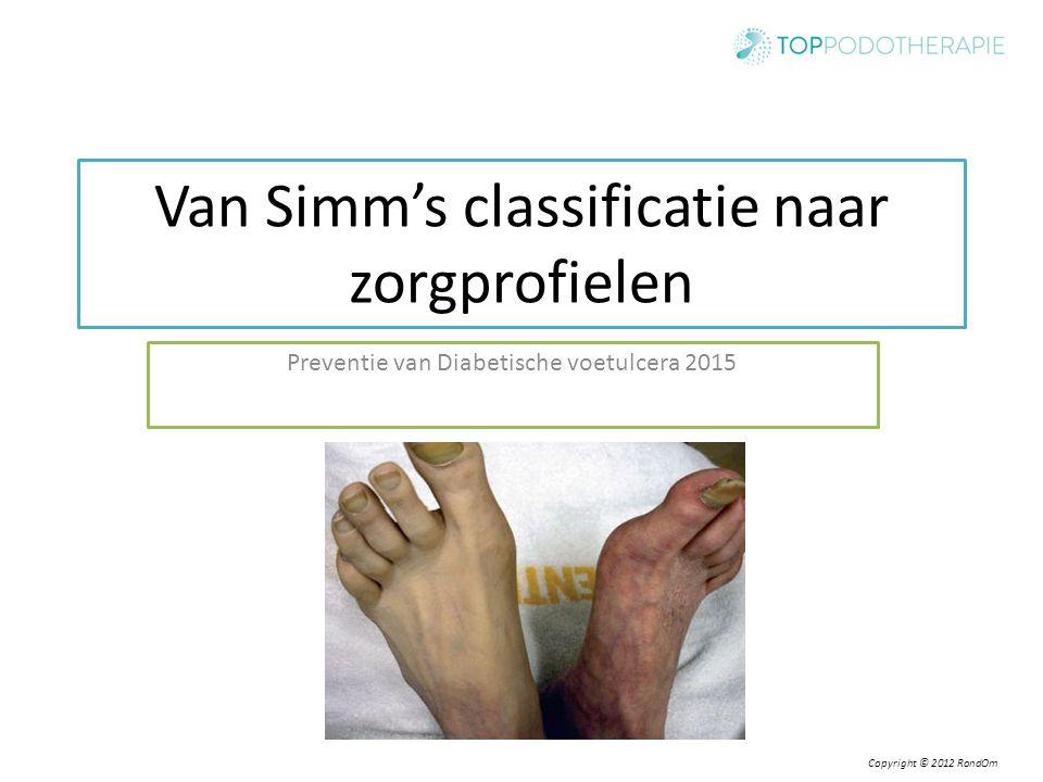 Copyright © 2012 RondOm Van Simm's classificatie naar zorgprofielen Preventie van Diabetische voetulcera 2015