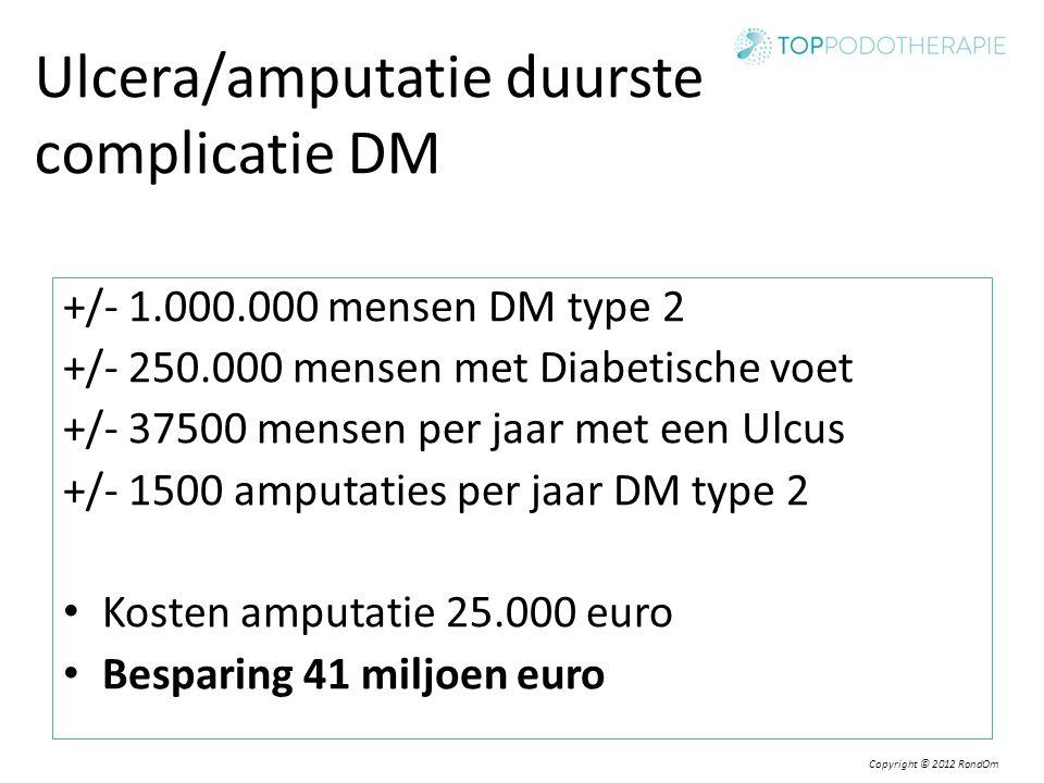 Copyright © 2012 RondOm Ulcera/amputatie duurste complicatie DM +/- 1.000.000 mensen DM type 2 +/- 250.000 mensen met Diabetische voet +/- 37500 mense