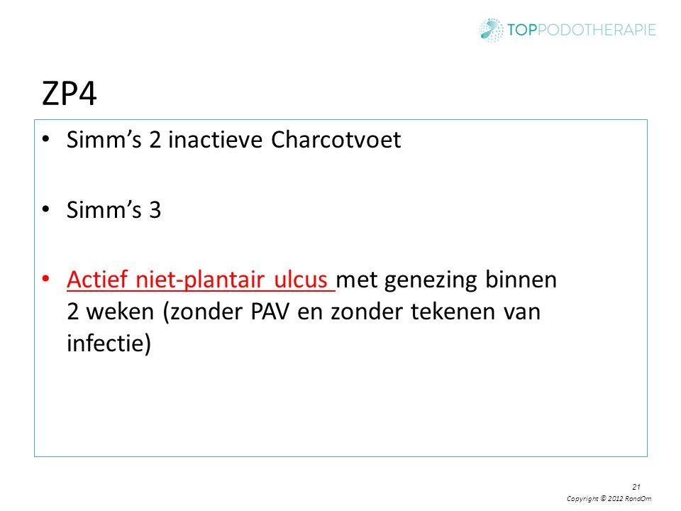 Copyright © 2012 RondOm 21 ZP4 Simm's 2 inactieve Charcotvoet Simm's 3 Actief niet-plantair ulcus met genezing binnen 2 weken (zonder PAV en zonder te