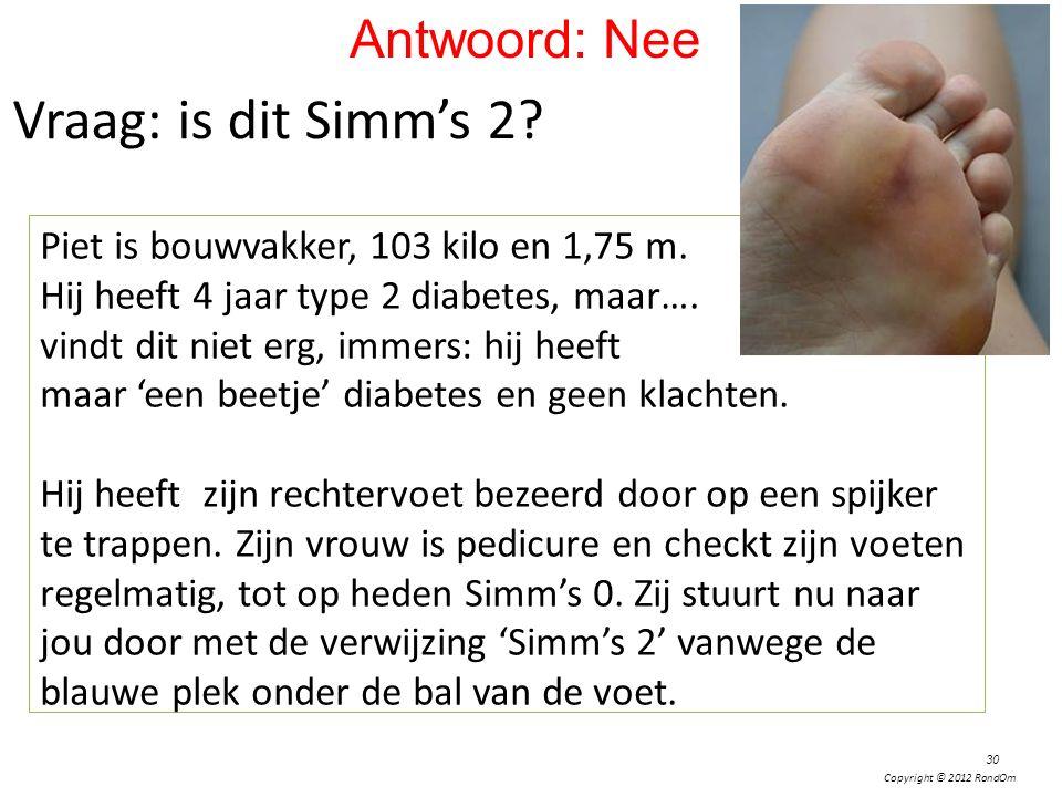 Copyright © 2012 RondOm Vraag: is dit Simm's 2? Piet is bouwvakker, 103 kilo en 1,75 m. Hij heeft 4 jaar type 2 diabetes, maar…. vindt dit niet erg, i