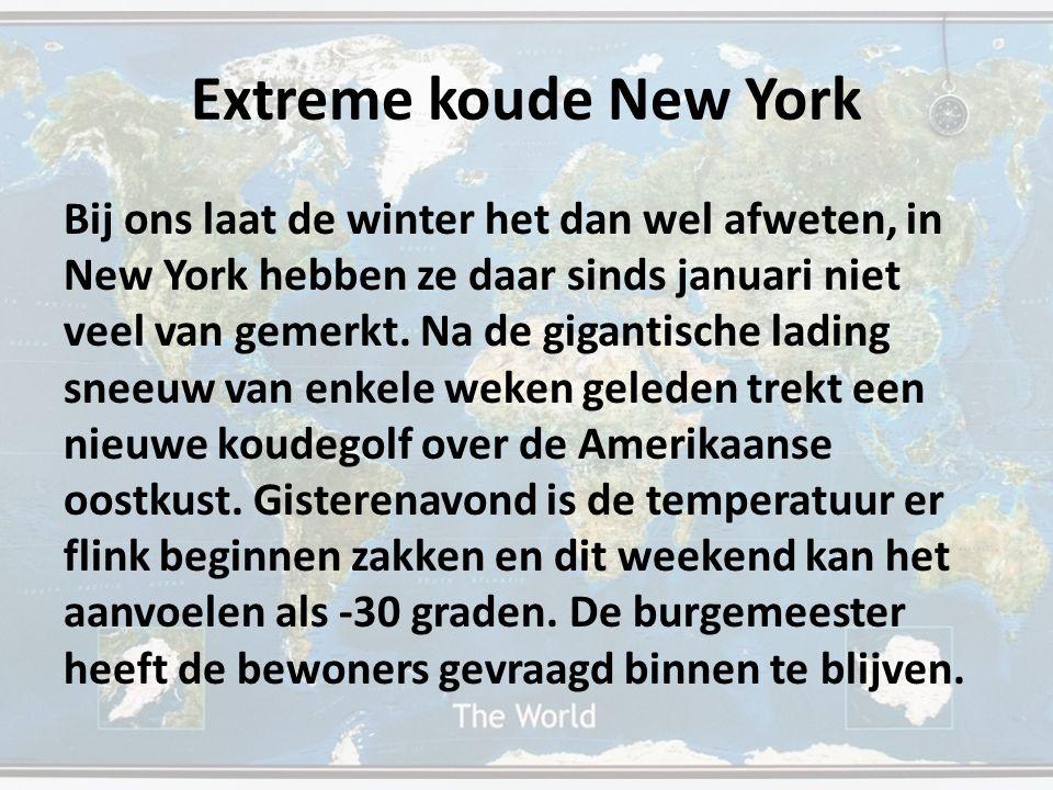 Extreme koude New York Bij ons laat de winter het dan wel afweten, in New York hebben ze daar sinds januari niet veel van gemerkt. Na de gigantische l