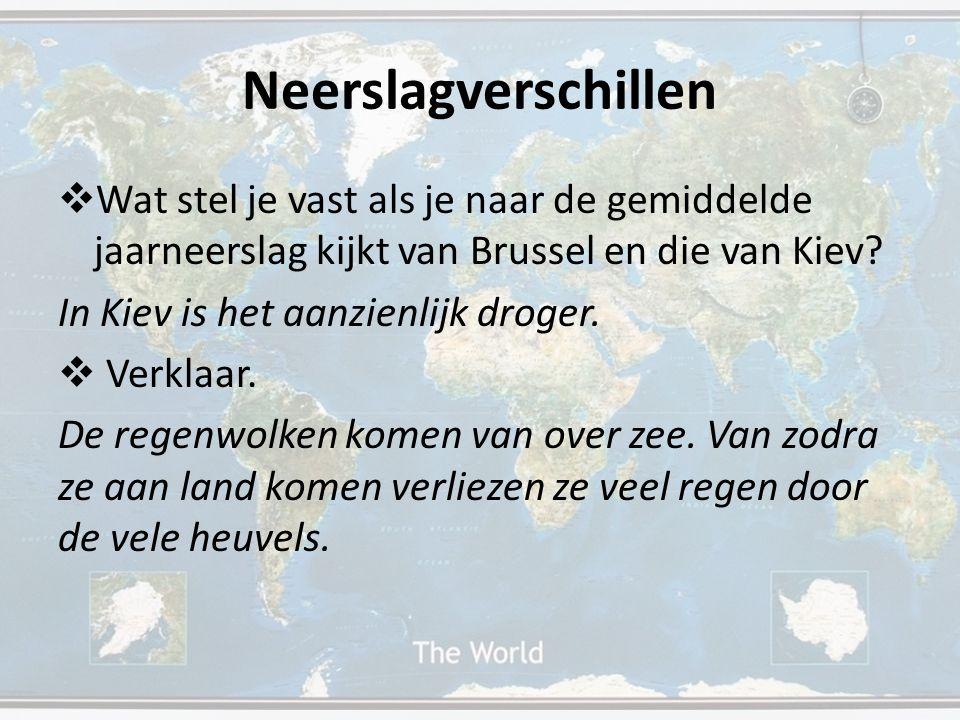  Wat stel je vast als je naar de gemiddelde jaarneerslag kijkt van Brussel en die van Kiev? In Kiev is het aanzienlijk droger.  Verklaar. De regenwo
