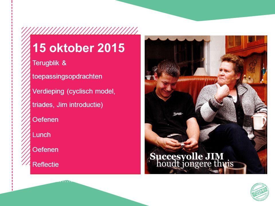 15 oktober 2015 Terugblik & toepassingsopdrachten Verdieping (cyclisch model, triades, Jim introductie) Oefenen Lunch Oefenen Reflectie En verder…..