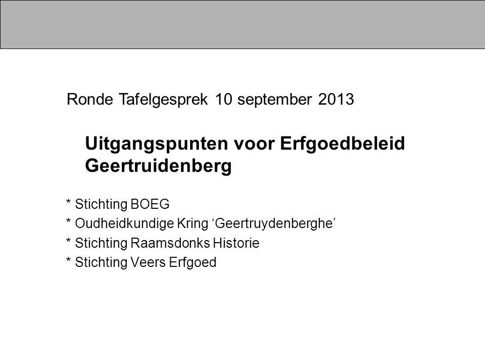 * Stichting BOEG * Oudheidkundige Kring 'Geertruydenberghe' * Stichting Raamsdonks Historie * Stichting Veers Erfgoed Ronde Tafelgesprek 10 september 2013 Uitgangspunten voor Erfgoedbeleid Geertruidenberg