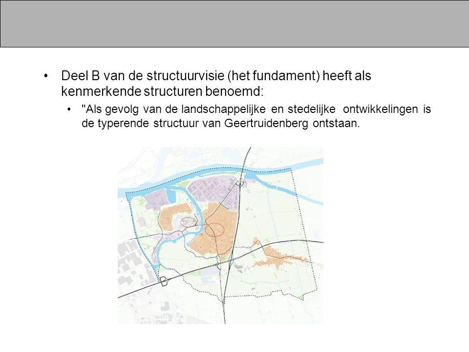 Deel B van de structuurvisie (het fundament) heeft als kenmerkende structuren benoemd: Als gevolg van de landschappelijke en stedelijke ontwikkelingen is de typerende structuur van Geertruidenberg ontstaan.
