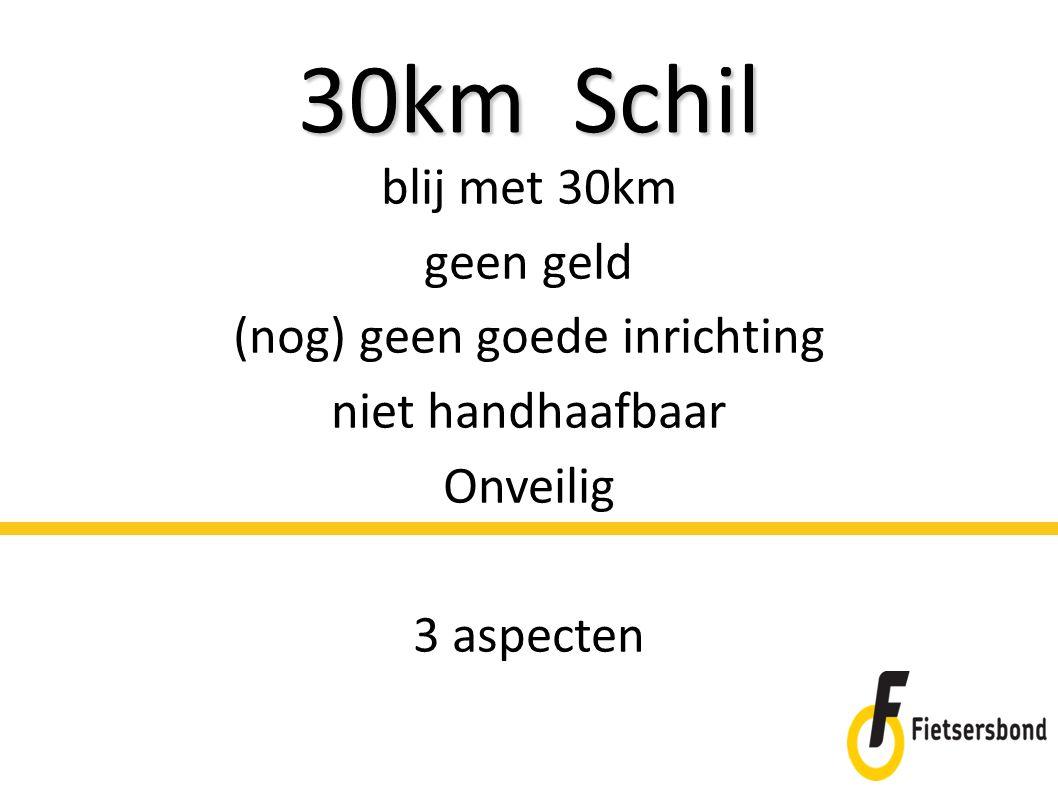 30km Schil blij met 30km geen geld (nog) geen goede inrichting niet handhaafbaar Onveilig 3 aspecten