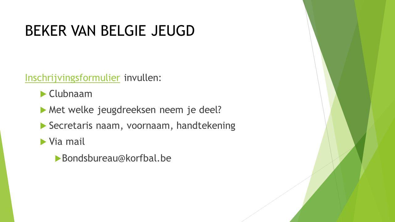 BEKER VAN BELGIE JEUGD InschrijvingsformulierInschrijvingsformulier invullen:  Clubnaam  Met welke jeugdreeksen neem je deel.