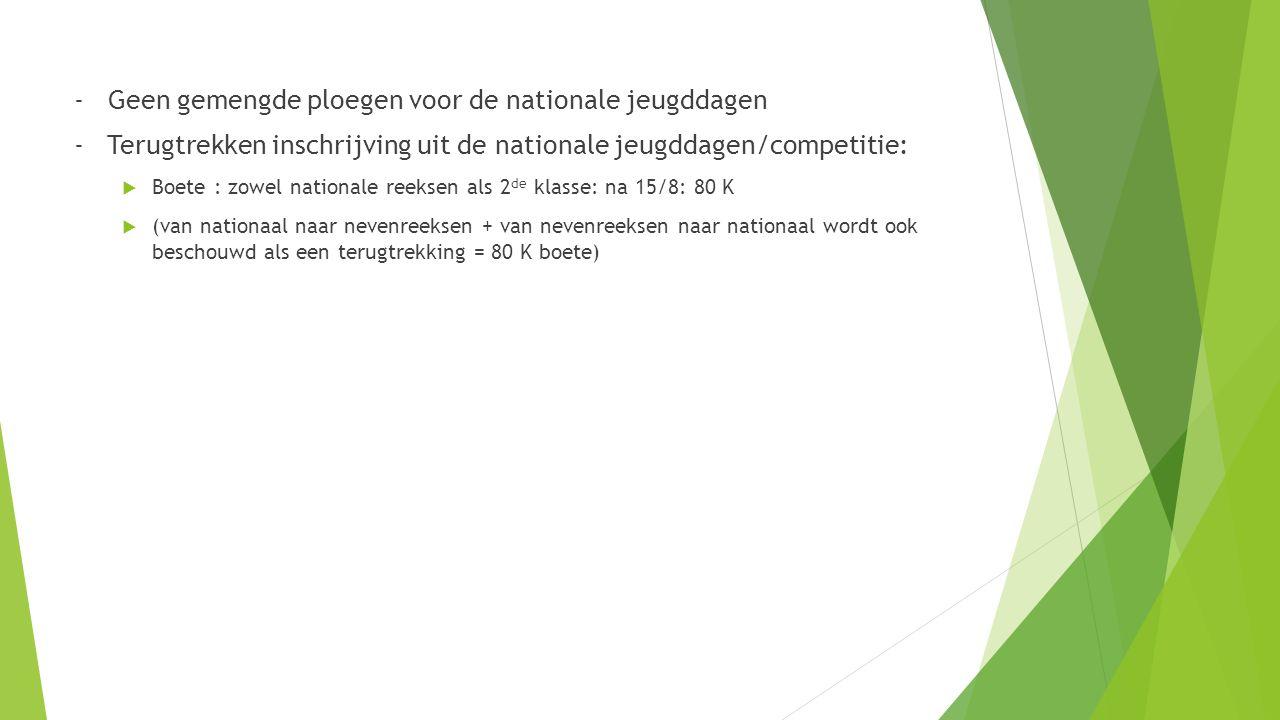 - Geen gemengde ploegen voor de nationale jeugddagen - Terugtrekken inschrijving uit de nationale jeugddagen/competitie:  Boete : zowel nationale reeksen als 2 de klasse: na 15/8: 80 K  (van nationaal naar nevenreeksen + van nevenreeksen naar nationaal wordt ook beschouwd als een terugtrekking = 80 K boete)