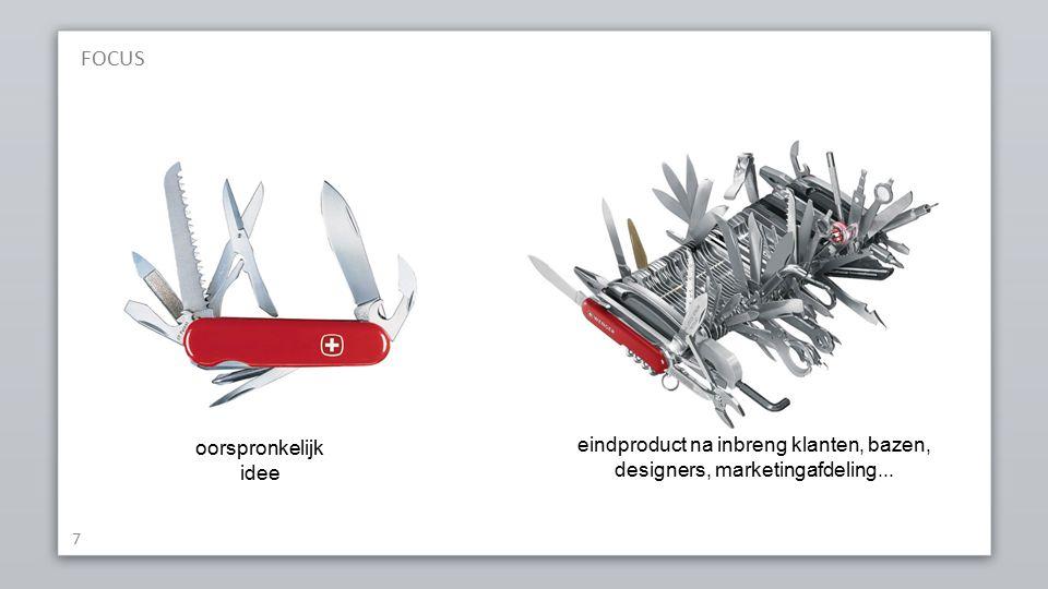 7 oorspronkelijk idee eindproduct na inbreng klanten, bazen, designers, marketingafdeling...