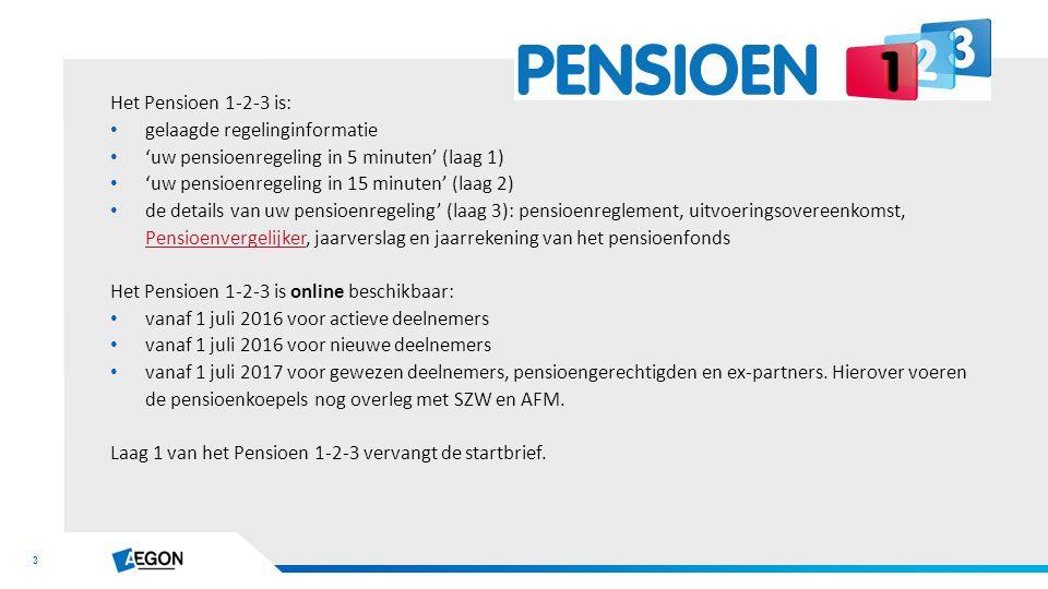 3 Het Pensioen 1-2-3 is: gelaagde regelinginformatie 'uw pensioenregeling in 5 minuten' (laag 1) 'uw pensioenregeling in 15 minuten' (laag 2) de details van uw pensioenregeling' (laag 3): pensioenreglement, uitvoeringsovereenkomst, Pensioenvergelijker, jaarverslag en jaarrekening van het pensioenfonds Pensioenvergelijker Het Pensioen 1-2-3 is online beschikbaar: vanaf 1 juli 2016 voor actieve deelnemers vanaf 1 juli 2016 voor nieuwe deelnemers vanaf 1 juli 2017 voor gewezen deelnemers, pensioengerechtigden en ex-partners.