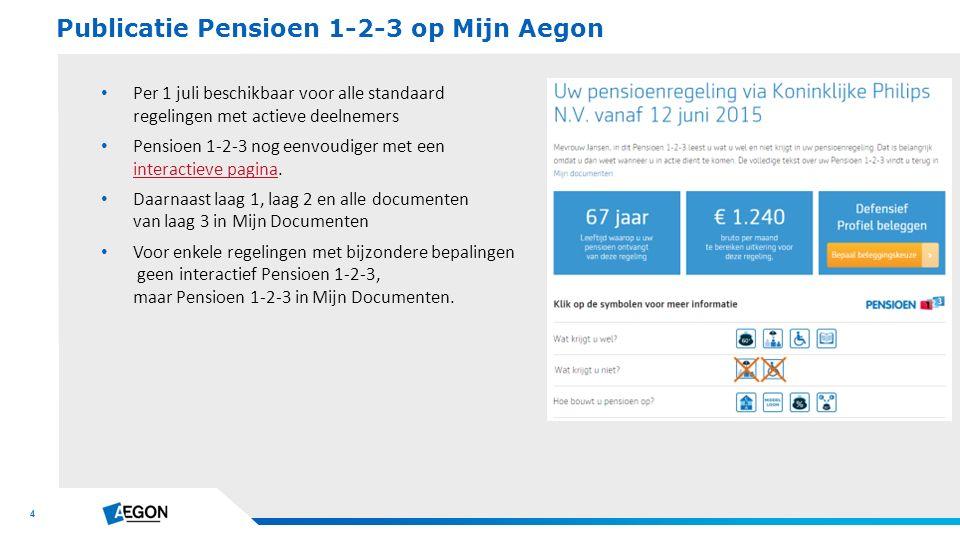 4 Per 1 juli beschikbaar voor alle standaard regelingen met actieve deelnemers Pensioen 1-2-3 nog eenvoudiger met een interactieve pagina.