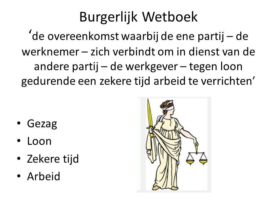 Burgerlijk Wetboek ' de overeenkomst waarbij de ene partij – de werknemer – zich verbindt om in dienst van de andere partij – de werkgever – tegen loo