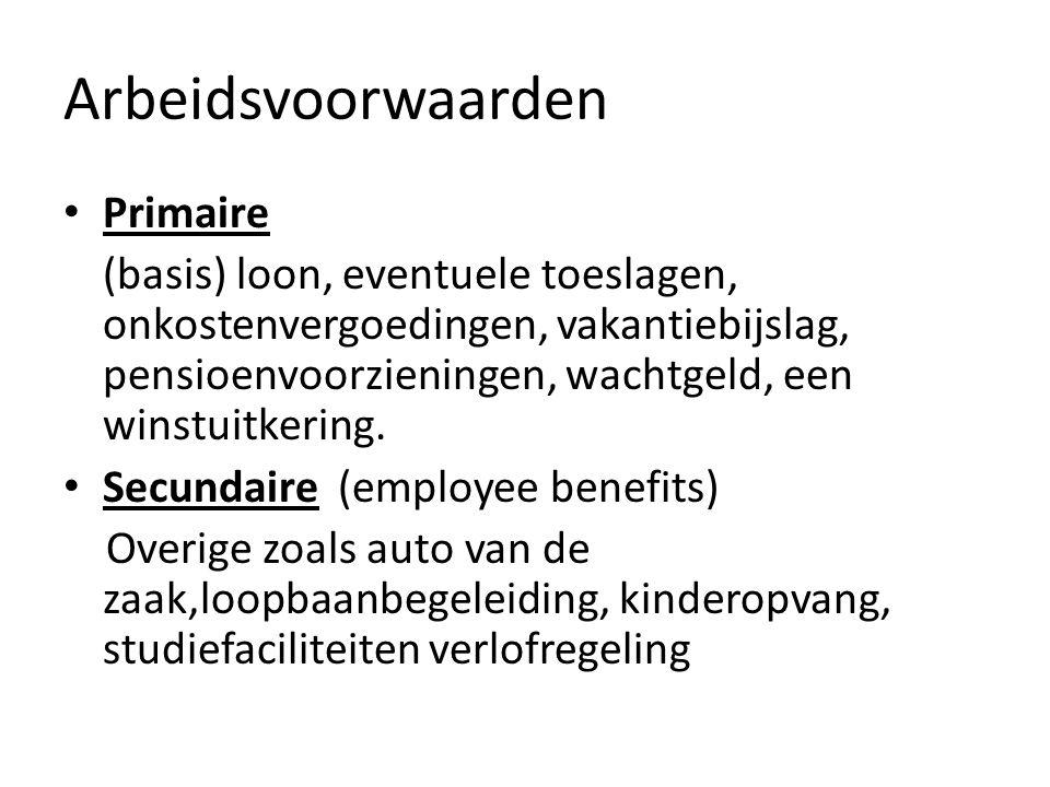 Arbeidsvoorwaarden Primaire (basis) loon, eventuele toeslagen, onkostenvergoedingen, vakantiebijslag, pensioenvoorzieningen, wachtgeld, een winstuitke