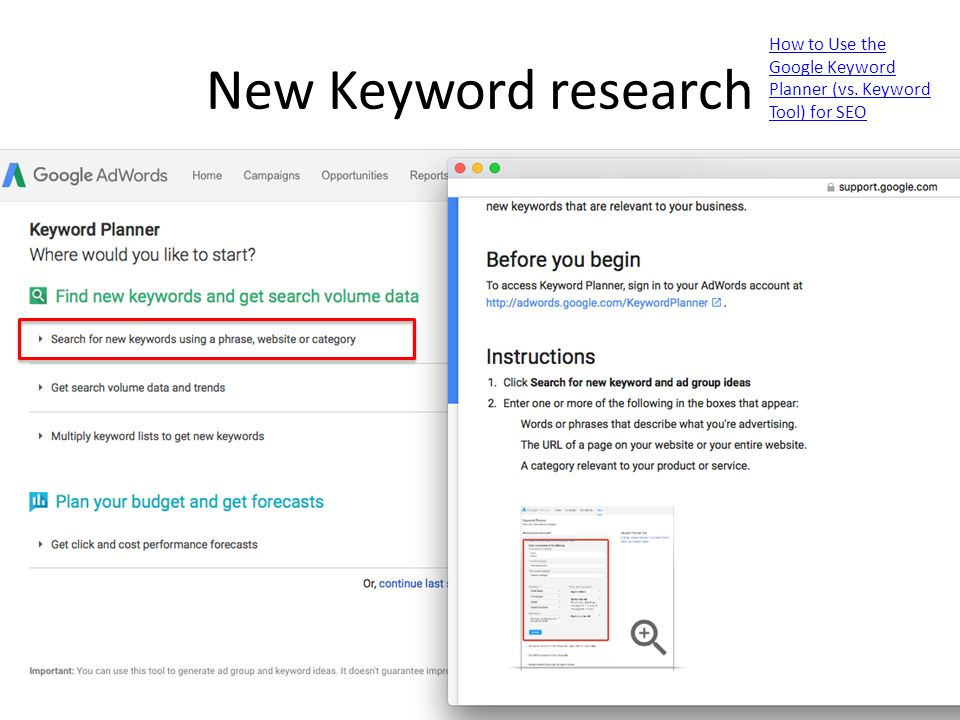 New Keyword research How to Use the Google Keyword Planner (vs. Keyword Tool) for SEO