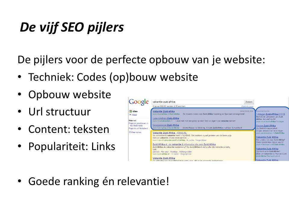De pijlers voor de perfecte opbouw van je website: Techniek: Codes (op)bouw website Opbouw website Url structuur Content: teksten Populariteit: Links Goede ranking én relevantie.