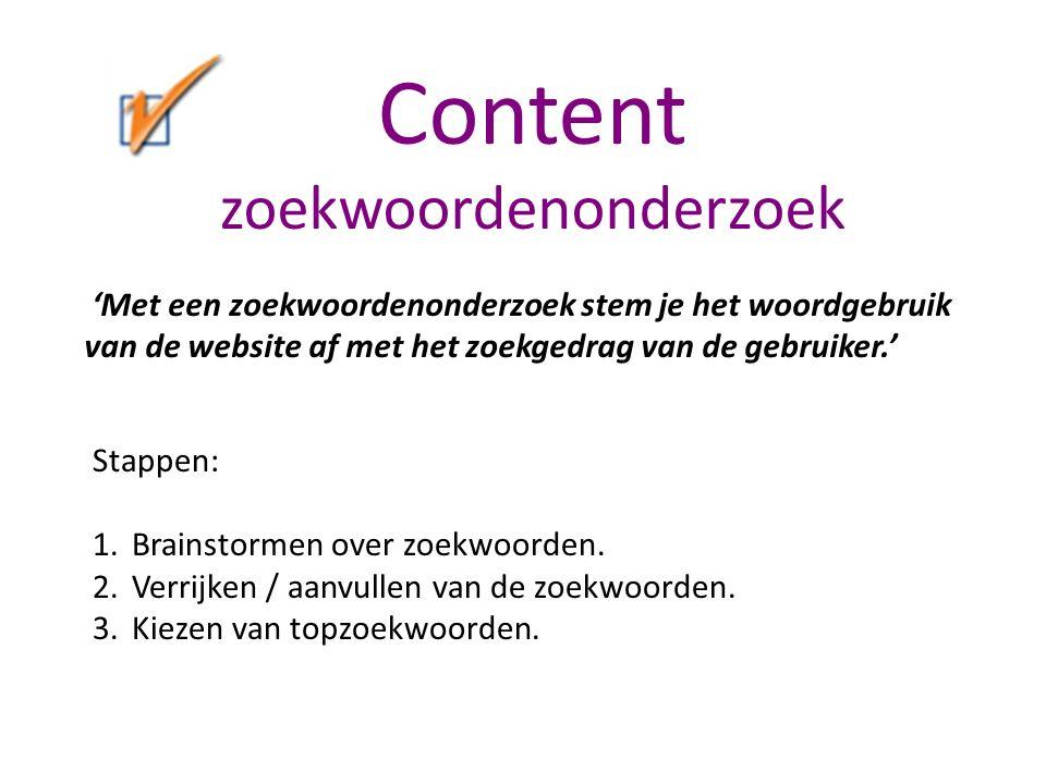 Content zoekwoordenonderzoek Stappen: 1.Brainstormen over zoekwoorden.