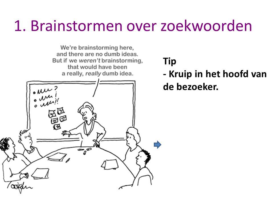 1. Brainstormen over zoekwoorden Tip - Kruip in het hoofd van de bezoeker.