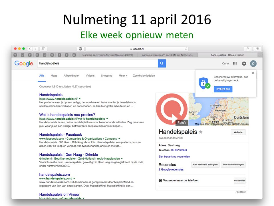 Nulmeting 11 april 2016 Elke week opnieuw meten