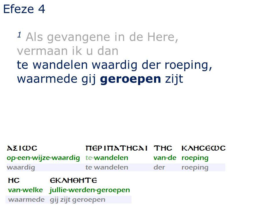 Efeze 4 1 Als gevangene in de Here, vermaan ik u dan te wandelen waardig der roeping, waarmede gij geroepen zijt