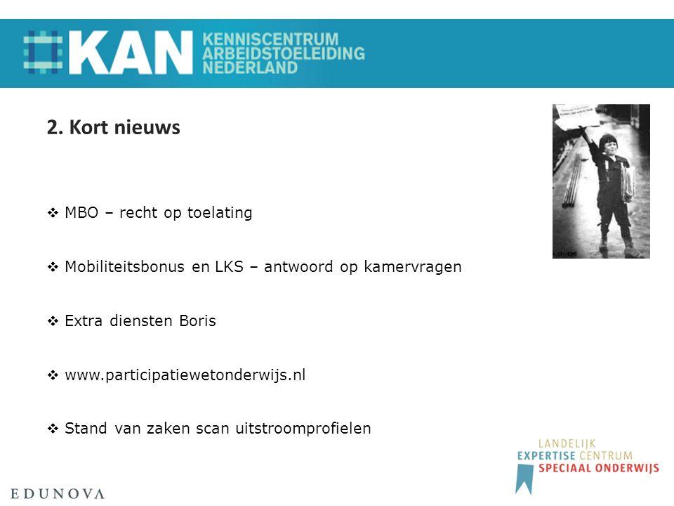 2. Kort nieuws  MBO – recht op toelating  Mobiliteitsbonus en LKS – antwoord op kamervragen  Extra diensten Boris  www.participatiewetonderwijs.nl