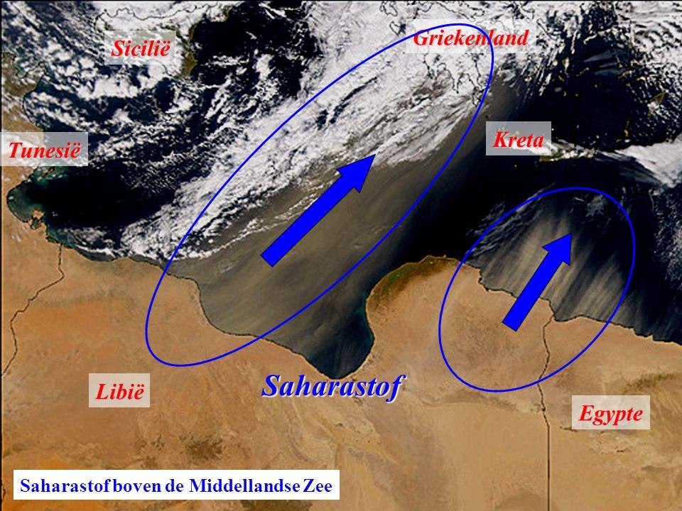 Tunesië Libië Egypte SiciliëGriekenlandKreta Saharastof Saharastof boven de Middellandse Zee
