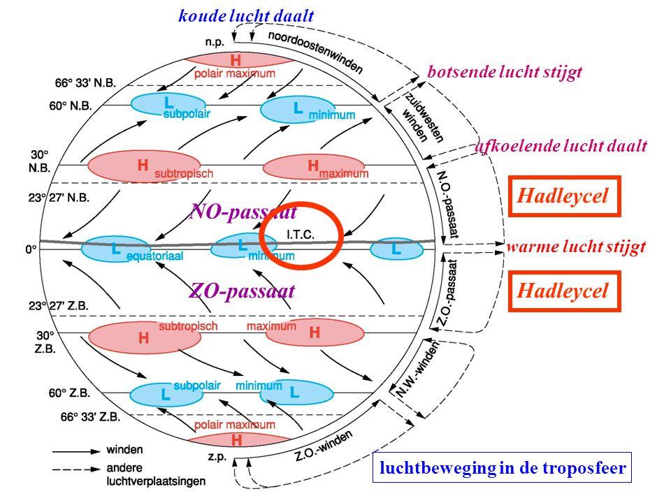 luchtbeweging in de troposfeer NO-passaat ZO-passaat warme lucht stijgt koude lucht daalt afkoelende lucht daalt botsende lucht stijgt Hadleycel