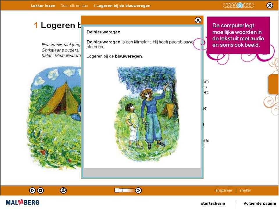 Volgende paginastartscherm De computer legt de leesmoeilijkheid uit de les uit.