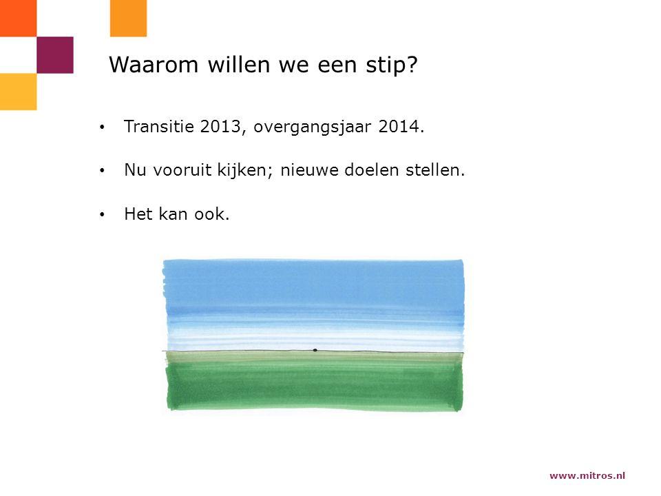 www.mitros.nl Waarom willen we een stip. Transitie 2013, overgangsjaar 2014.