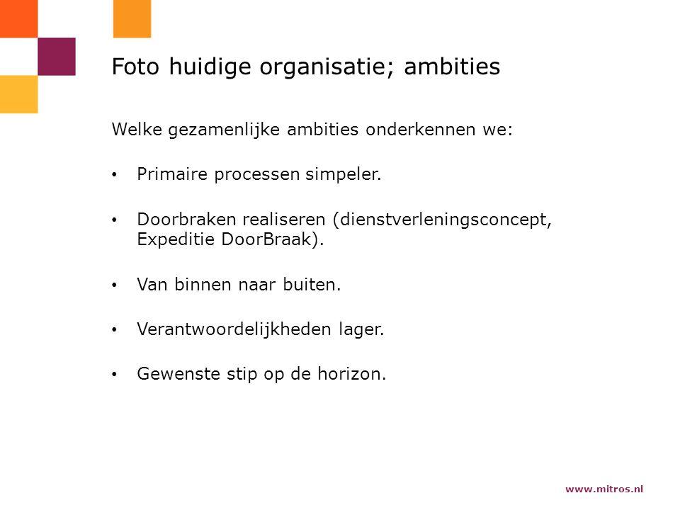 www.mitros.nl Foto huidige organisatie; ambities Welke gezamenlijke ambities onderkennen we: Primaire processen simpeler.