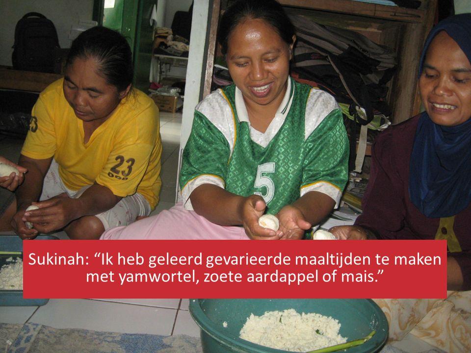 """Sukinah: """"Ik heb geleerd gevarieerde maaltijden te maken met yamwortel, zoete aardappel of mais."""""""