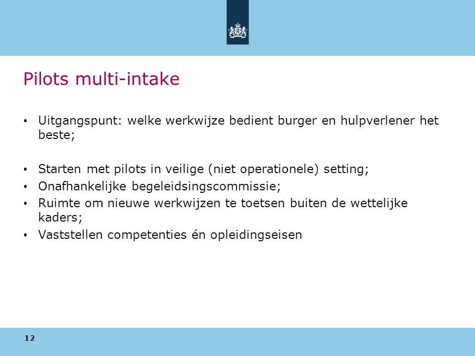 Pilots multi-intake Uitgangspunt: welke werkwijze bedient burger en hulpverlener het beste; Starten met pilots in veilige (niet operationele) setting; Onafhankelijke begeleidsingscommissie; Ruimte om nieuwe werkwijzen te toetsen buiten de wettelijke kaders; Vaststellen competenties én opleidingseisen 12