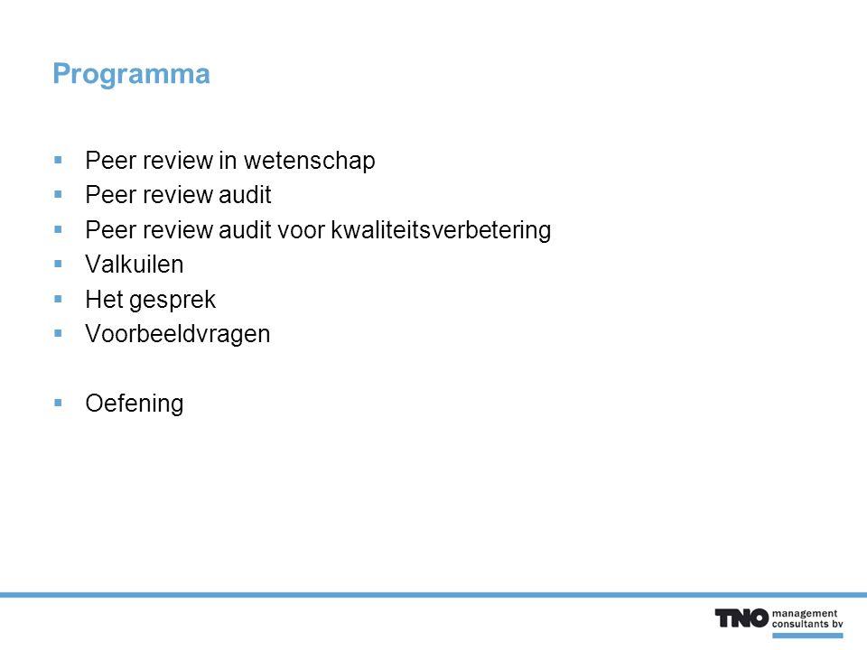 Programma  Peer review in wetenschap  Peer review audit  Peer review audit voor kwaliteitsverbetering  Valkuilen  Het gesprek  Voorbeeldvragen  Oefening