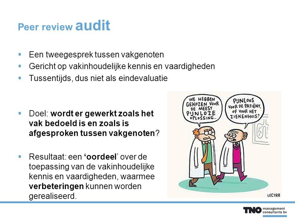Peer review audit  Een tweegesprek tussen vakgenoten  Gericht op vakinhoudelijke kennis en vaardigheden  Tussentijds, dus niet als eindevaluatie  Doel: wordt er gewerkt zoals het vak bedoeld is en zoals is afgesproken tussen vakgenoten.