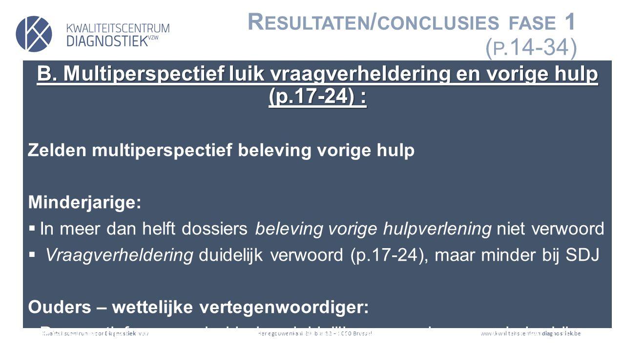 Kwaliteitscentrum voor Diagnostiek vzwwww.kwaliteitscentrumdiagnostiek.beHenegouwenkaai 29, bus 12 – 1080 Brussel R ESULTATEN / CONCLUSIES FASE 1 ( P.14-34) B.