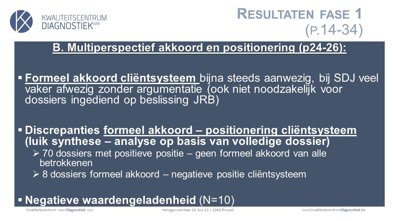 Kwaliteitscentrum voor Diagnostiek vzwwww.kwaliteitscentrumdiagnostiek.beHenegouwenkaai 29, bus 12 – 1080 Brussel R ESULTATEN FASE 1 ( P.14-34) B.