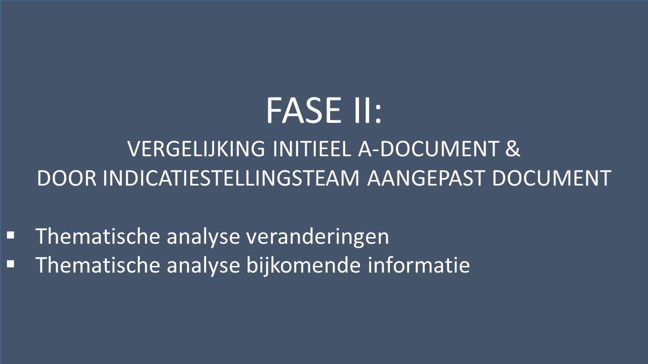 Kwaliteitscentrum voor Diagnostiek vzwwww.kwaliteitscentrumdiagnostiek.beHenegouwenkaai 29, bus 12 – 1080 Brussel FASE II: VERGELIJKING INITIEEL A-DOCUMENT & DOOR INDICATIESTELLINGSTEAM AANGEPAST DOCUMENT  Thematische analyse veranderingen  Thematische analyse bijkomende informatie