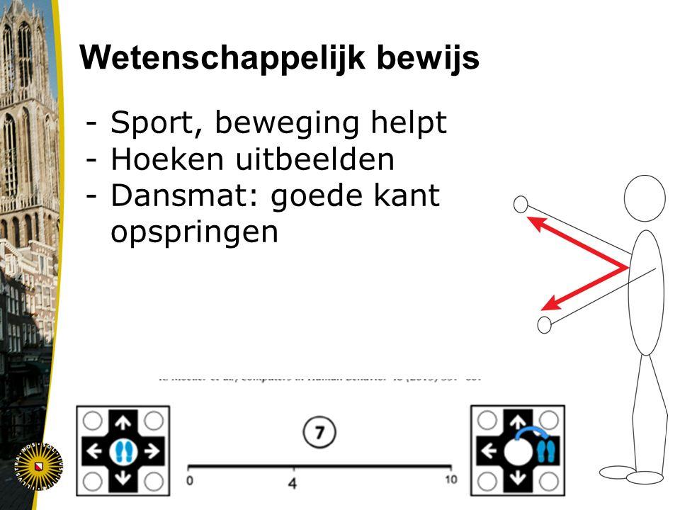 Wetenschappelijk bewijs -Sport, beweging helpt -Hoeken uitbeelden -Dansmat: goede kant opspringen