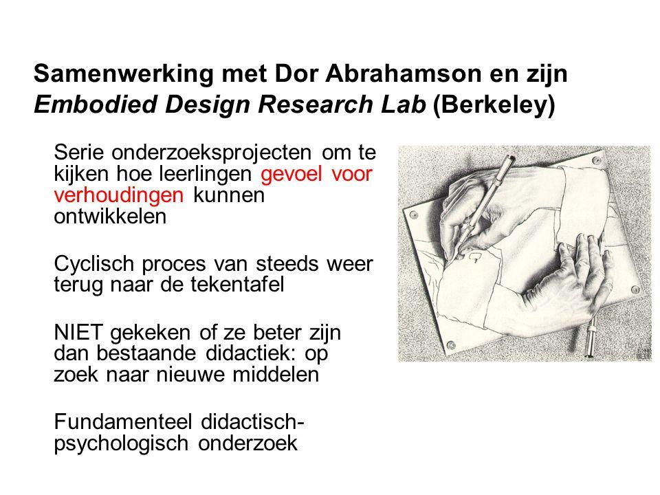 Samenwerking met Dor Abrahamson en zijn Embodied Design Research Lab (Berkeley) Serie onderzoeksprojecten om te kijken hoe leerlingen gevoel voor verh