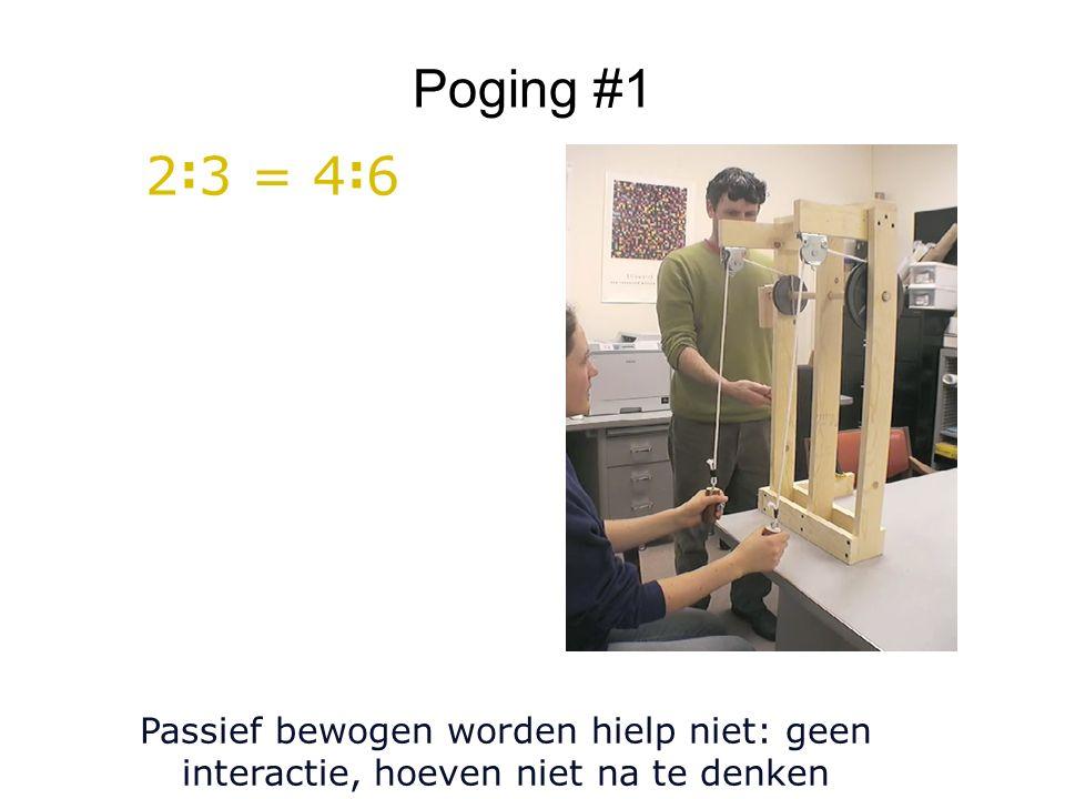 Poging #1 Passief bewogen worden hielp niet: geen interactie, hoeven niet na te denken 2 : 3 = 4 : 6