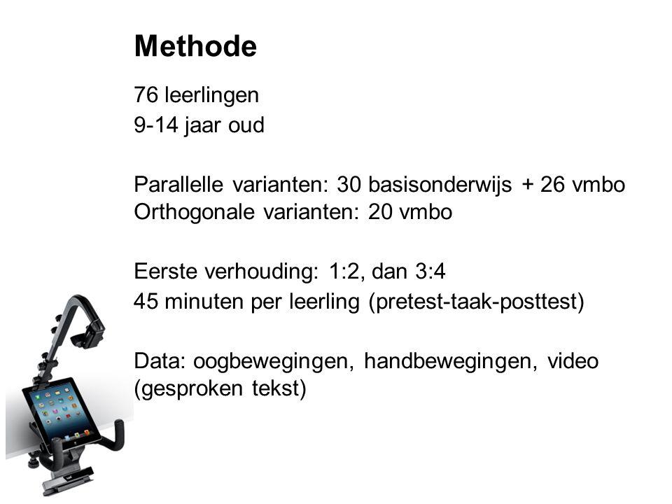 Methode 76 leerlingen 9-14 jaar oud Parallelle varianten: 30 basisonderwijs + 26 vmbo Orthogonale varianten: 20 vmbo Eerste verhouding: 1:2, dan 3:4 4