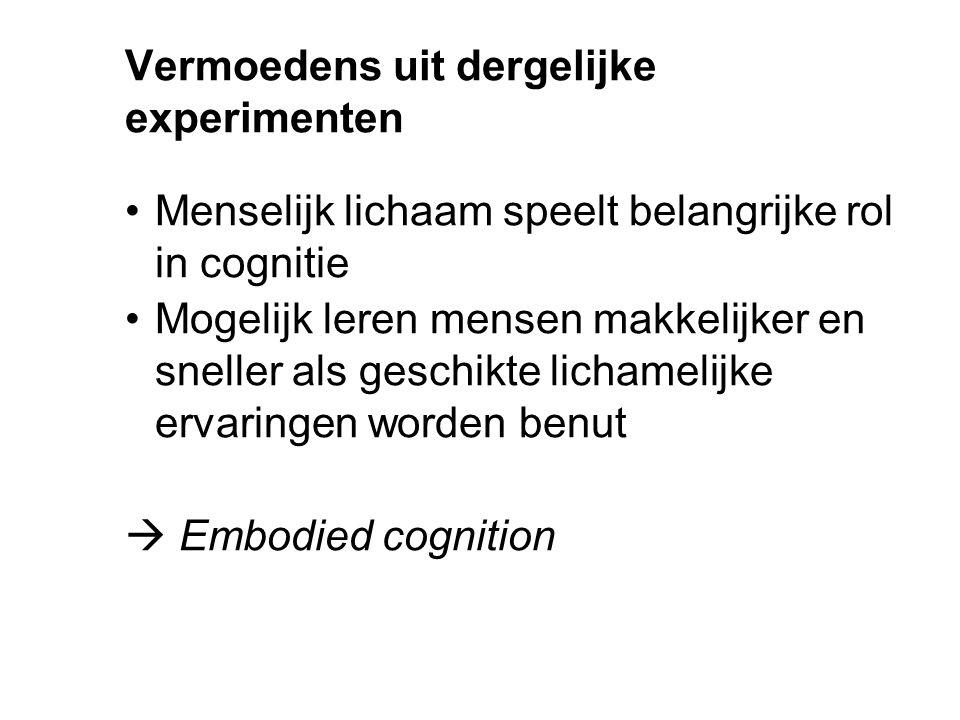 Vermoedens uit dergelijke experimenten Menselijk lichaam speelt belangrijke rol in cognitie Mogelijk leren mensen makkelijker en sneller als geschikte