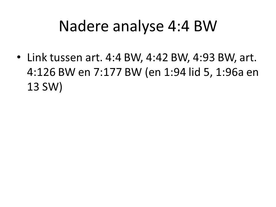 Nadere analyse 4:4 BW Link tussen art. 4:4 BW, 4:42 BW, 4:93 BW, art. 4:126 BW en 7:177 BW (en 1:94 lid 5, 1:96a en 13 SW)