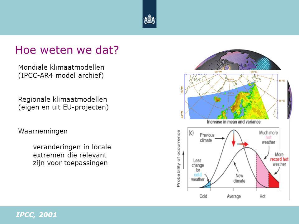 Mondiale klimaatmodellen (IPCC-AR4 model archief) Regionale klimaatmodellen (eigen en uit EU-projecten) Waarnemingen veranderingen in locale extremen