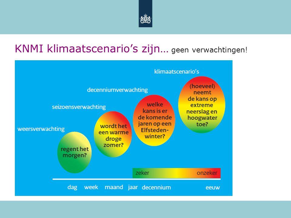 +4°C +2°C 2100 IPCC, 2007 Ruwweg 80% kans op de gekozen wereldwijde opwarming Geen 1-op-1 koppeling tussen KNMI scenario´s en emissiescenario's