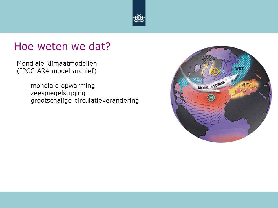 Mondiale klimaatmodellen (IPCC-AR4 model archief) mondiale opwarming zeespiegelstijging grootschalige circulatieverandering Hoe weten we dat?