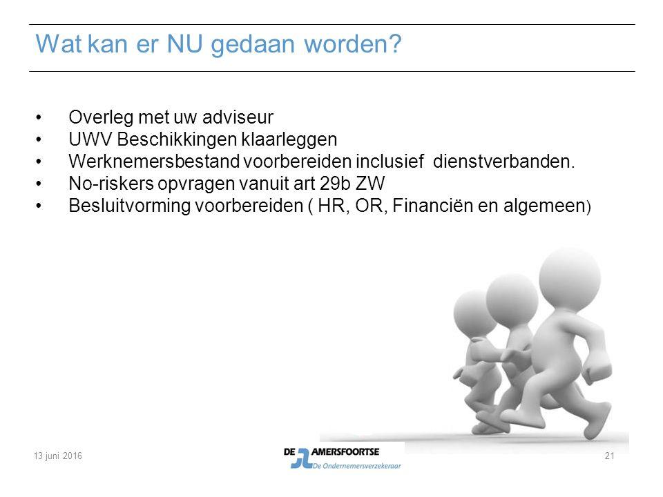 Wat kan er NU gedaan worden? Overleg met uw adviseur UWV Beschikkingen klaarleggen Werknemersbestand voorbereiden inclusief dienstverbanden. No-risker