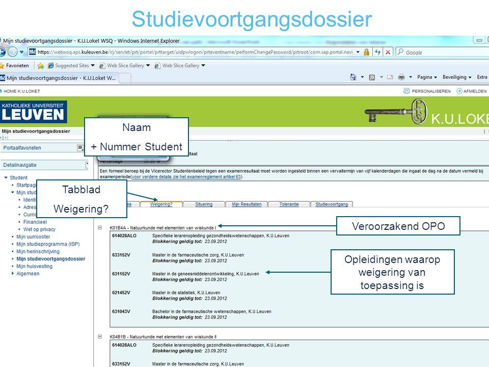 Studievoortgangsdossier Naam + Nummer Student Veroorzakend OPO Tabblad Weigering.