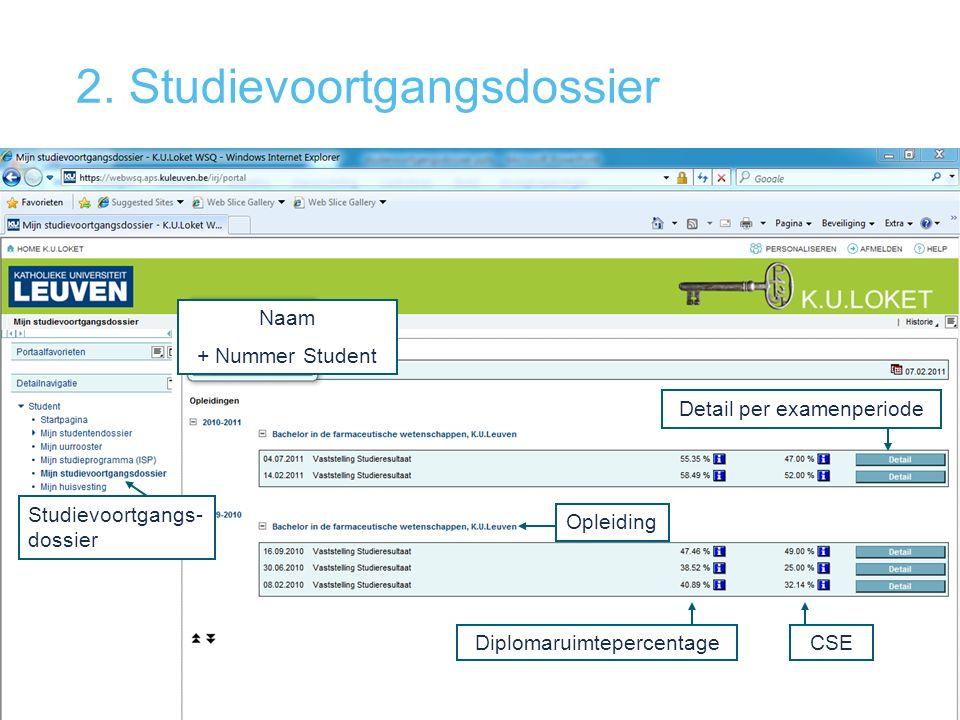 2. Studievoortgangsdossier Studievoortgangs- dossier Opleiding Detail per examenperiode Naam + Nummer Student DiplomaruimtepercentageCSE